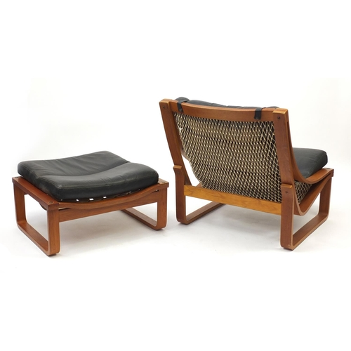 2001 - Vintage Tessa T4 lounge chair with foot stool designed by Fred Lowen, the chair 80cm high...