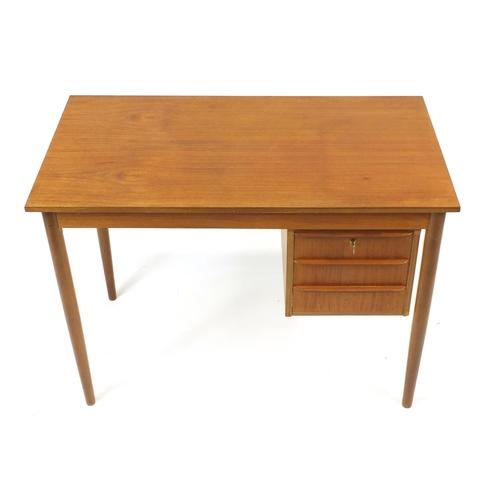 2043 - Vintage Danish teak desk by Risskov Mobelabrikken, 74cm H x 102cm W x 56cm D...