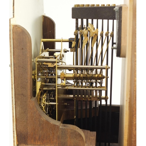 2049 - Inlaid mahogany long case clock with Franz Hermle movement, striking on twelve rods, 188cm high...