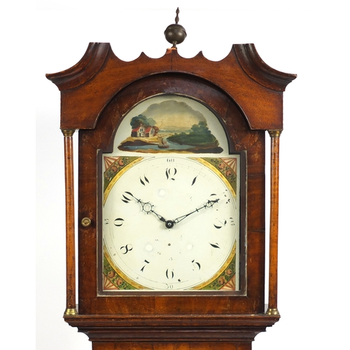 2038 - Early 19th century mahogany long case clock with hand painted dial, 212cm high...