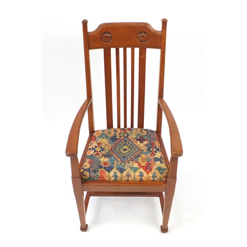 2034 - Arts & Crafts oak armchair in the style of  Charles Rennie Mackintosh, impressed registration number...