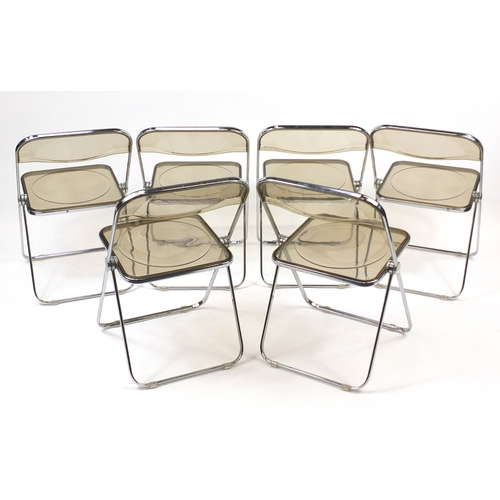 2028 - Set of six Vintage Castelli Plia chairs, designed by Giancarlo Piretti, each 76cm high...