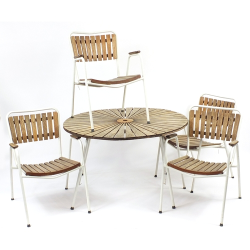2029 - Vintage Danish teak sunburst design folding table and four chairs by Daneline, the table 67cm high x...