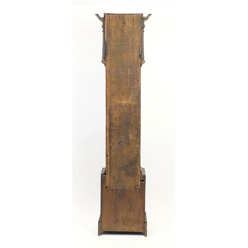 2015 - Antique carved oak long case clock, the brass dial inscribed Joseph Cooper Malpas, 210cm high...