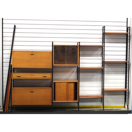 2017 - Vintage Ladderax modular wall unit, including cupboards and shelves...