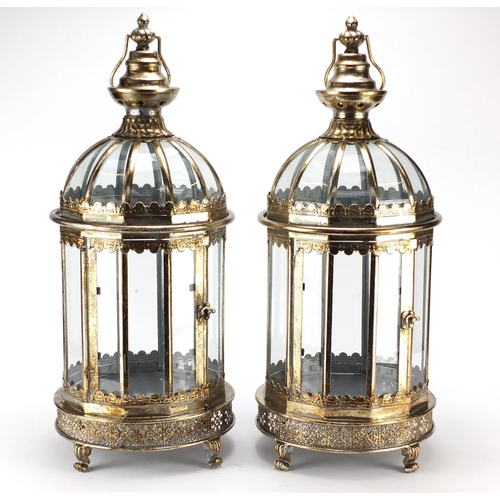 2046 - Pair of Victorian style gilt metal lanterns with glass panels, 60cm high...