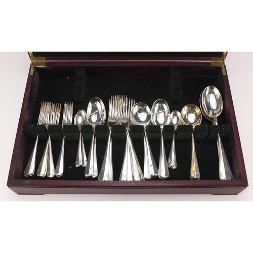 2035 - Mahogany canteen of Butler silver plated cutlery, 46cm wide...