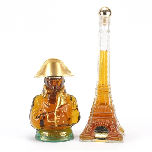 2049 - Two novelty bottles of Napoleon brandy in the form of The Eiffel Tower and Napoleon Bonaparte...