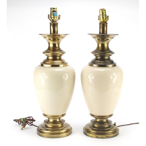 2034 - Pair of American brass mounted stiffel lamps, each 60cm high...