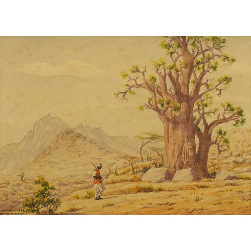 2033 - Giovanni Romagnoli 1947 - Eritrea, East Africa, four watercolours, mounted and framed, the largest 3...