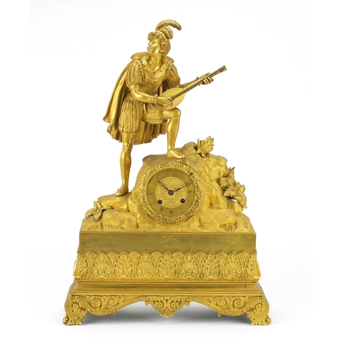 2045 - Good French Empire ormolu figural mantel clock striking on a bell by Alexandre Roussel, mounted with...