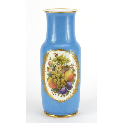 2051 - 19th century Sèvres style jewelled vase, finely hand painted with panels of fruit and flowers within...