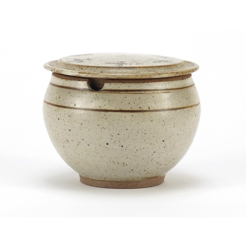 2050 - Studio pottery honey pot and cover, possibly by Norah Braden, 9cm high...