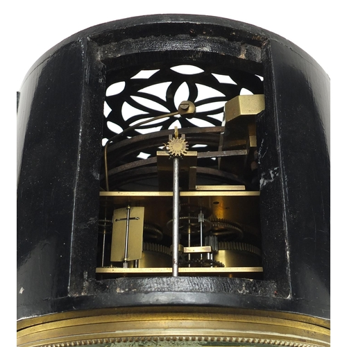 2052 - Ebonised bracket clock, the dial inscribed Hull of Paris and with Roman numerals, 51cm high...