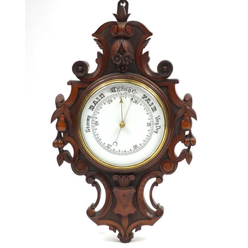 2019 - Victorian walnut wall barometer carved with leaves and berries, 58cm high...