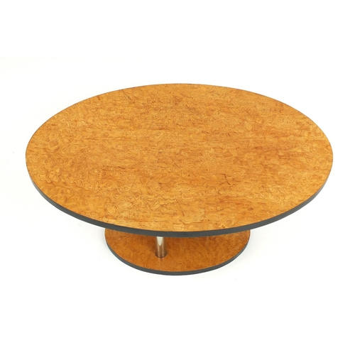 2008 - Art Deco maple coffee table with chrome supports, 43cm H x 78cm W...