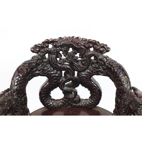 2003 - Chinese carved wood throne chair, 84cm high...