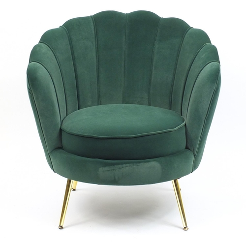 2007 - Art Deco style shell chair raised on brass legs, 85cm high...