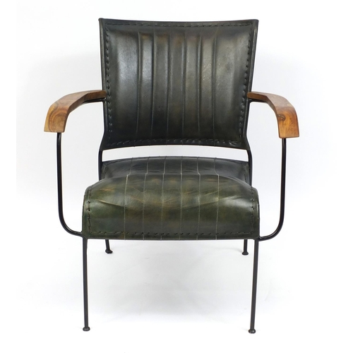 2005 - Industrial style metal framed armchair with leather upholstery, 74cm high...