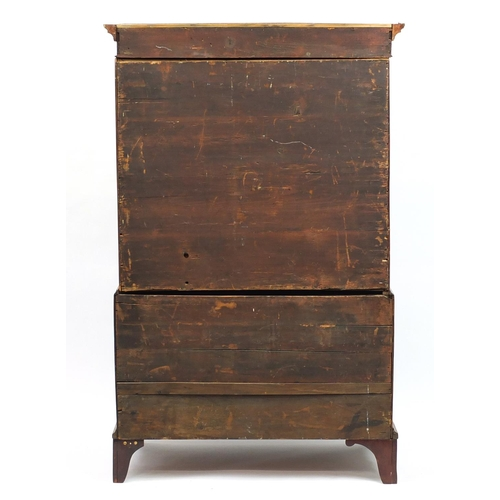 2006 - Georgian style mahogany chest on chest fitted with two short above five long graduated drawers, 165c...