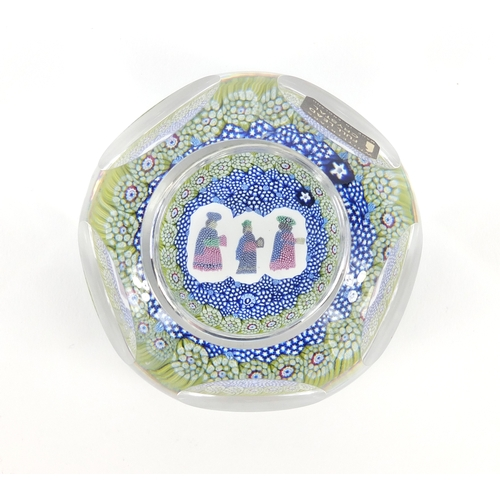 2058 - Whitefriars Christmas faceted glass paperweight, numbered 523 with paper label, 8cm in diameter...