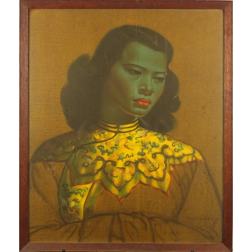 2030 - Vladimir Tretchikoff - The Chinese Girl, vintage print in colour, label verso, framed, 59.5cm x 49cm...