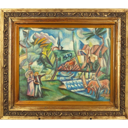 2032 - Surreal landscape with figures and animals, French impressionist oil on board, bearing a signature A...