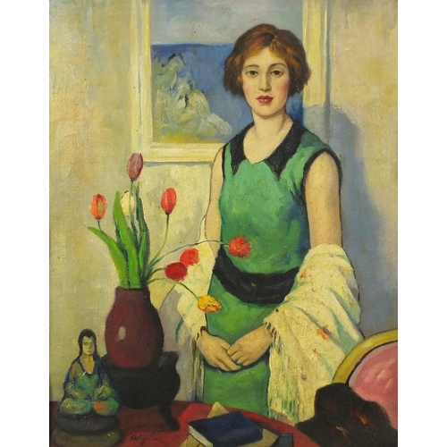 2027 - Manner of William George Gillies - Female in an interior with flowers in a vase, Scottish colourist ...