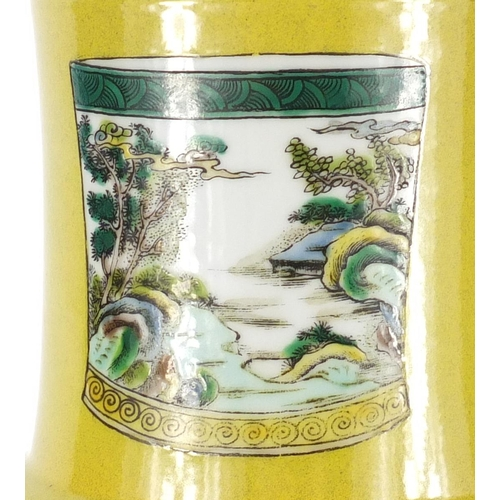 2044 - Chinese porcelain Rouleau vase, hand painted in the famille verte palette with vases, brush pot and ...