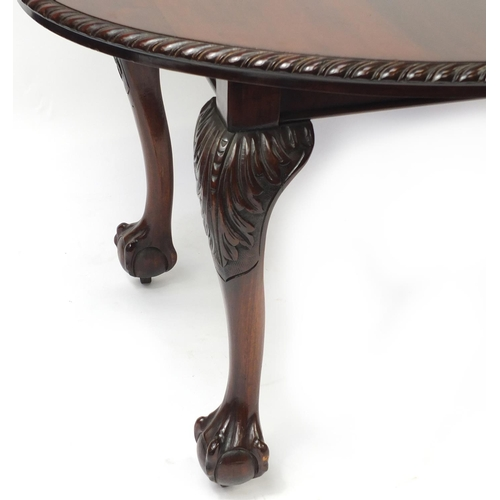 2011 - Chippendale style mahogany D end wind out dining table with ball and claw feet, 74cm H x 174cm W (ex...