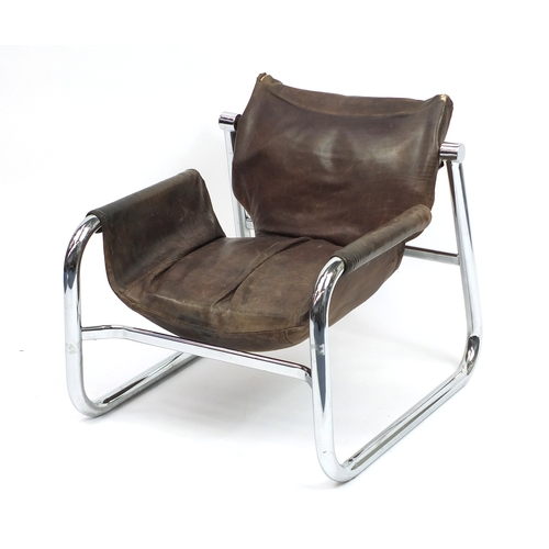 2017 - Italian chrome and brown leather chair, 68cm high...