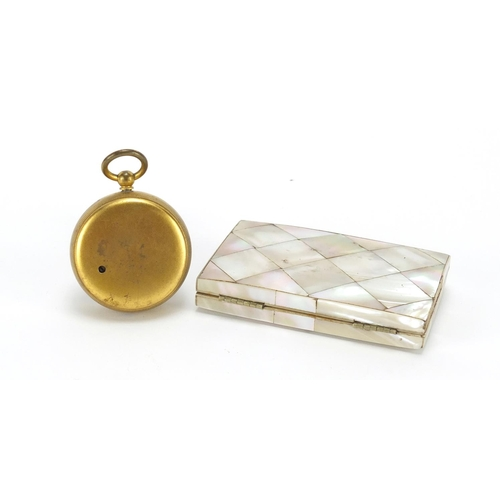 32 - Mother of pearl concertina card case and a brass compensated pocket barometer by John Lennie of Edin...