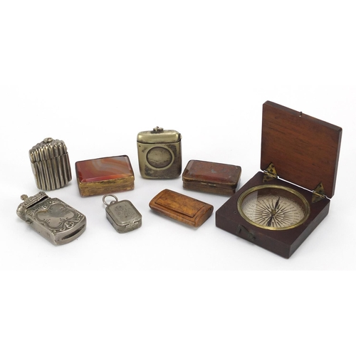22 - Objects including travel sundial, hardstone boxes, vesta's and a burr snuff box...