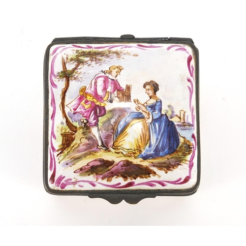 23 - Antique French enamel patch box, hand painted with two lovers before a landscape and flowers, inscri...