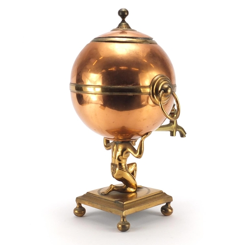 37 - 19th century copper and brass atlas design samovar, 48cm high