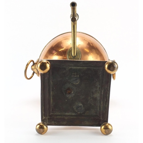 37 - 19th century copper and brass atlas design samovar, 48cm high...