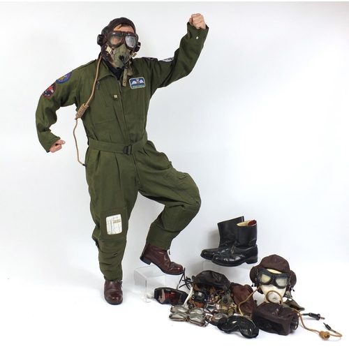 259 - Collection of Military interest flying accessories including MK2 flying suit, two pairs of leather b...