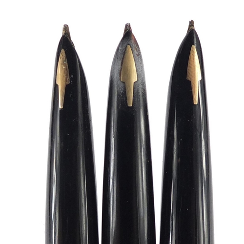 6 - Three Parker 61 fountain pens with rolled gold cases...