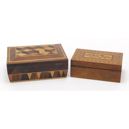 41 - Two Victorian Tunbridge Ware boxes, the larger sarcophagus shaped example with tumbling blocks desig...