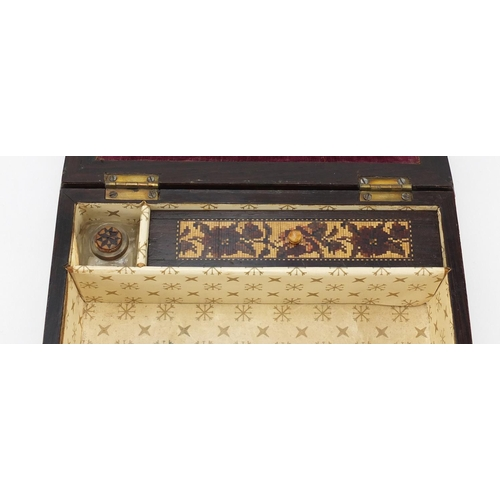 17 - Victorian Tunbridge Ware writing box, the hinged lid inlaid with flowers opening to reveal a fitted ...