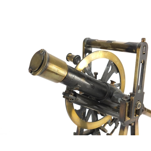 14 - 19th century brass theodolite by Cary of The Strand London with silvered scales, numbered 2002, 42cm...
