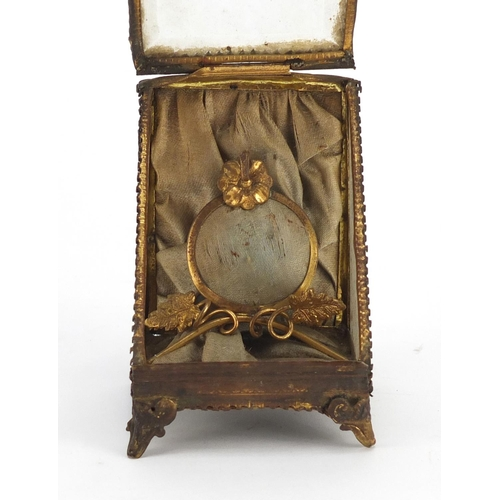 33 - 19th century French pocket watch stand with bevelled glass front, 9cm high...