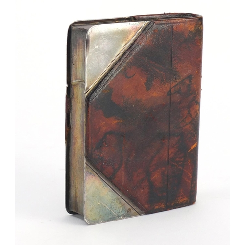 4 - Novelty leather bound silver plated hip flask in the form of a book, by John Dixon & Sons of Sheffie...