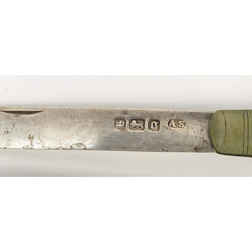 10 - Seven Georgian and later mother of pearl flanked silver bladed folding fruit knives, various hallmar...