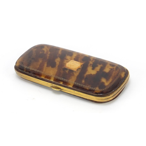 28 - Victorian tortoiseshell purse with brass inlay, 14cm high...