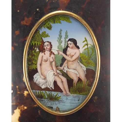 29 - Victorian blonde tortoiseshell purse inset with a panel of two nude bathers, 14cm high...