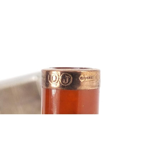 3 - Objects including amber coloured cigarette holder with 9ct gold mount, Colibri silver plated pocket ...