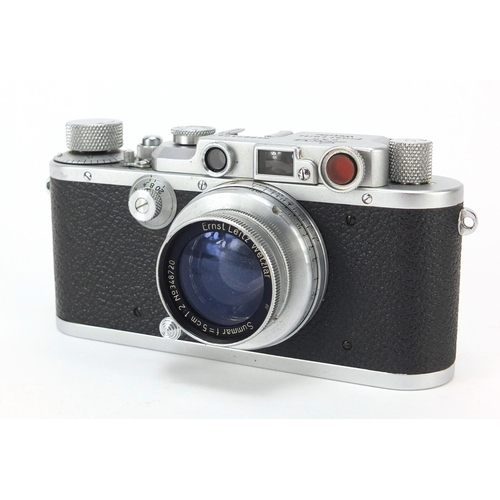 36 - Leica model III camera body with Summar F=5cm 1:2 lens and leather case...