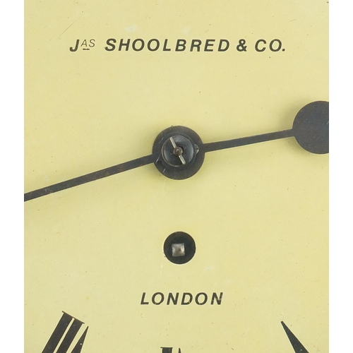 16 - Jas Shoolbred & Co 8 inch oak cased wall clock with fusee movement, the dial with Roman numerals and...