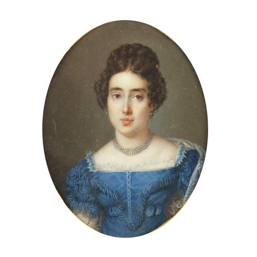 7 - 19th century oval hand painted portrait miniature of Harriet Robertson, daughter of Daniel and Anna ...